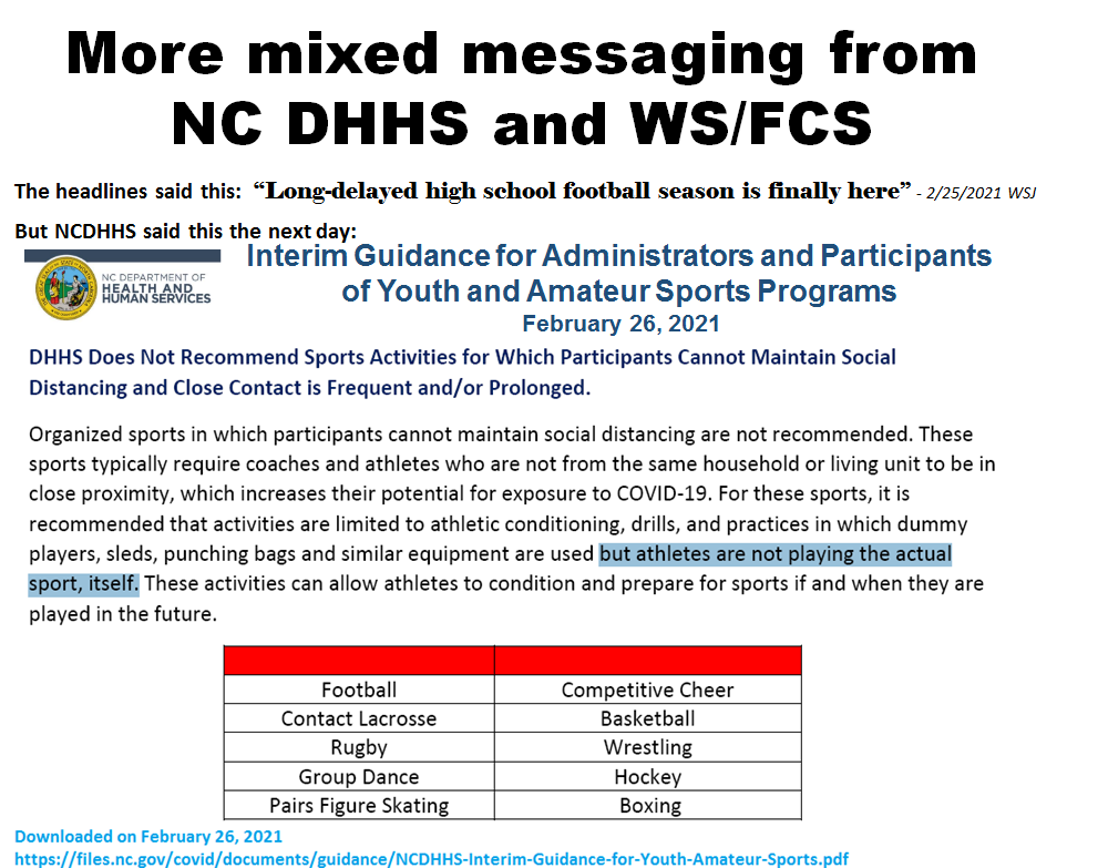 DHHS does not recommend football
